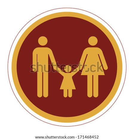a round red icon with silhouettes of a family