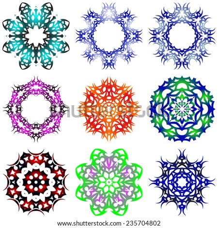 A round set of ornaments. Vector illustration