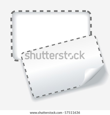 A rounded cut out coupon with dotted lines as a background copy space on paper. - stock vector