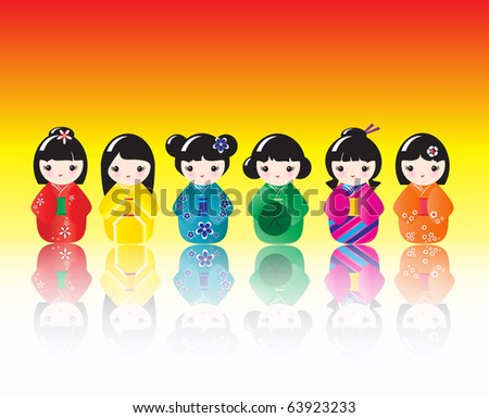 A row of brightly coloured Kokeshi dolls with reflections. EPS10 vector format - stock vector