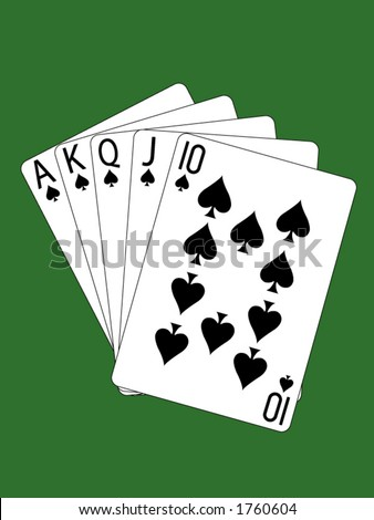 A royal flush of spades. - stock vector
