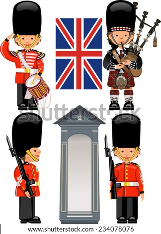A Royal Guard drummer Scottish bagpiper - stock vector