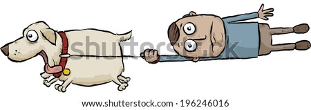 A running cartoon dog pulls its owner on a leash.