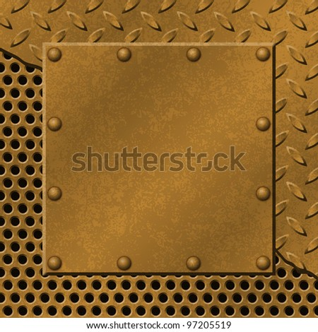 A Rusty Metal Background with Tread Plate, Mesh and Rivets