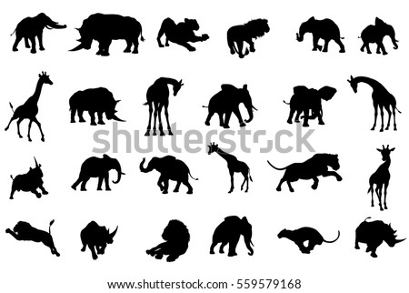 safari african animal silhouette set including stock