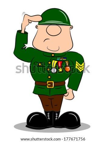 A saluting cartoon soldier in army uniform with medals  - stock vector