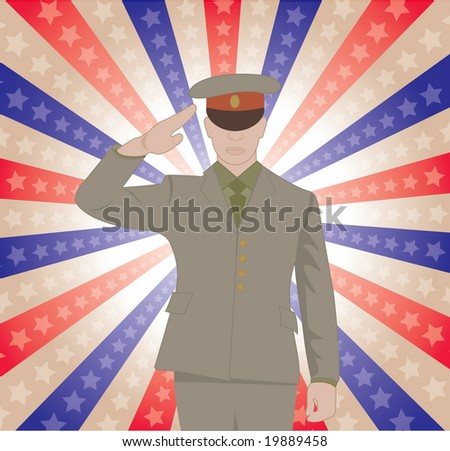 A saluting solider - stock vector