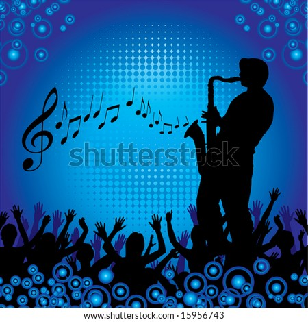 A sax player performs for an audience - stock vector