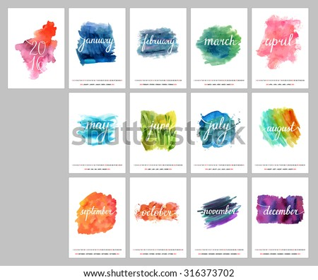 A scalable vector calendar for the year 2016. Each of the twelve months and the cover are presented on a corresponding bright watercolor texture. There is a place for text and logos. - stock vector
