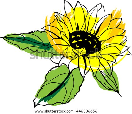 A scalable vector drawing of a yellow sunflower with green leaves, with strokes of paint imitating watercolour, on white background - stock vector