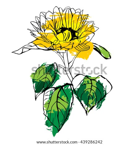 A scalable vector drawing of a yellow sunflower with green leaves, with strokes of paint, on white background - stock vector