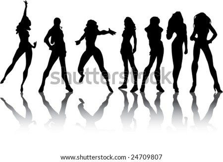 A scalable vector illustration of a group of posing girls, silhouetted.