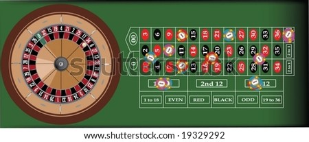 A scalable vector illustration of a roulette table - stock vector