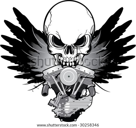 A scalable vector illustration of a winged v-twin motorcycle engine with skull