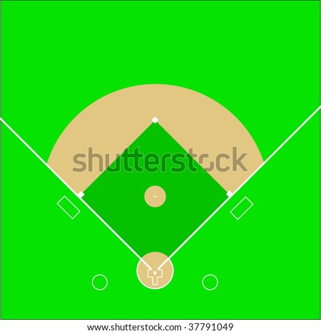 A scale vector representation of a baseball diamond field which can be re-sized to any dimension without loss of quality - stock vector