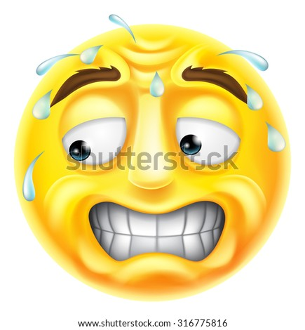 A scared, worried or embarrassed looking emji emoticon character  - stock vector