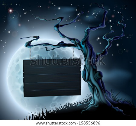 A scary Halloween wooden sign suspended from a spooky tree with space for your text  - stock vector