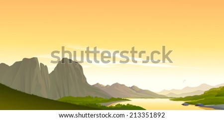 A scene from Grand Canyon  - stock vector