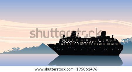 A scene of a cruise ship silhouette on calm, morning waters.
