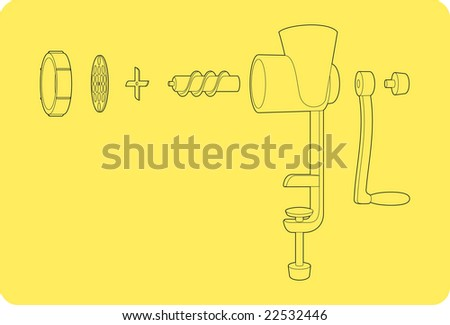 a scheme of old meat chopper - stock vector
