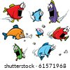 A school of cartoon, voracious fish. Layered vector file available. - stock vector