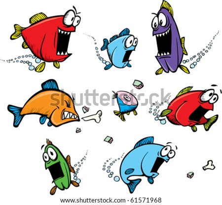 A school of cartoon, voracious fish. Layered vector file available.
