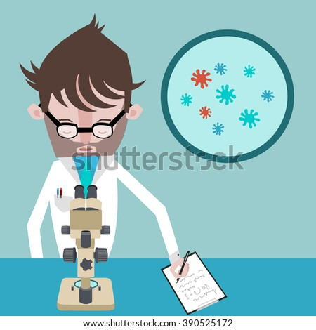 A scientist is watching bacterias through a microscope and writing notes - stock vector