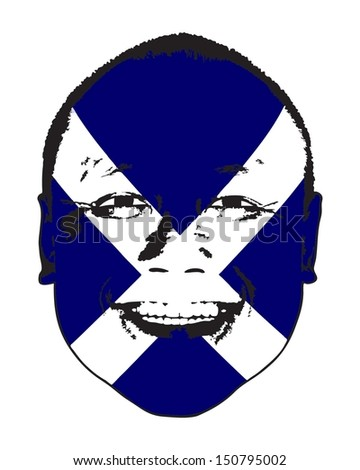 A Scotland flag on a face, isolated against white.  - stock vector
