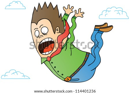 A screaming man falling from the sky. - stock vector
