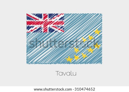 A Scribbled Flag Illustration of the country of Tavalu