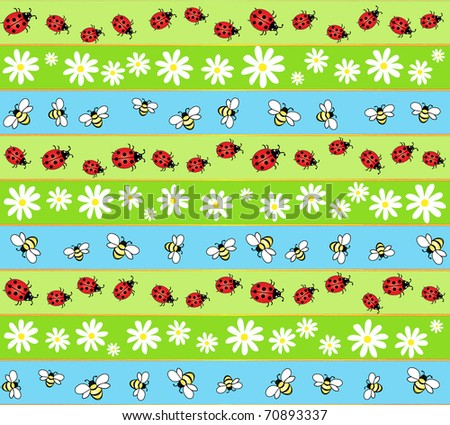 A seamless background of bees, ladybirds and daisies. EPS10 vector format - stock vector