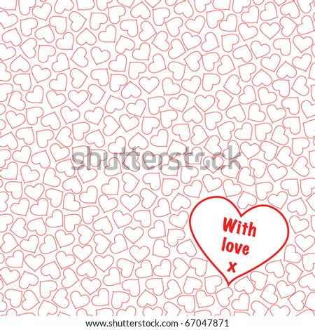A seamless background of hearts on white. Fully editable for insertion of your own text. EPS10 vector format. - stock vector