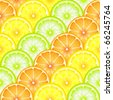 A seamless background of sliced oranges, lemons and limes. EPS10 vector format - stock vector