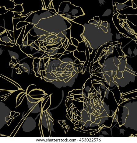 A seamless background pattern with golden and grey rose silhouettes on black background; vintage style wallpaper, wrapping or packaging paper; scalable vector graphic - stock vector