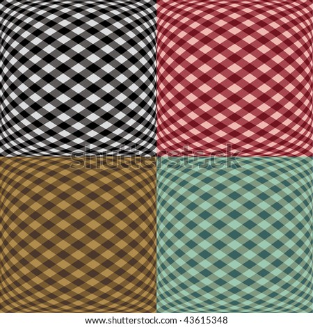 A seamless fish-eye gingham pattern in four colorways. - stock vector