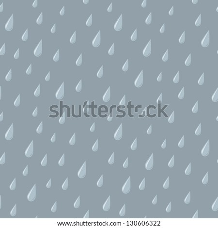 A seamless pattern of falling raindrops on a gray background. - stock vector