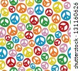 A seamless pattern of peace signs on a plain white background. - stock vector