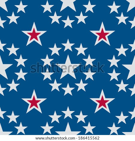 A seamless pattern of silvery stars on a blue background with some red highlights. - stock vector