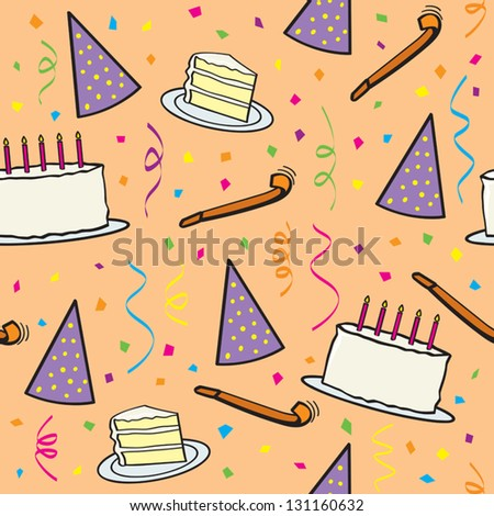 A seamless pattern of various birthday objects and falling confetti. - stock vector