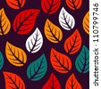 A seamless pattern with leaf, autumn leaf background - stock vector