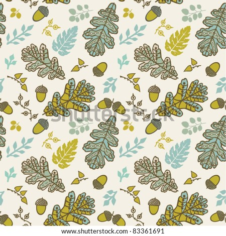 A seamless pattern with leaf,autumn leaf background with acorn - stock vector
