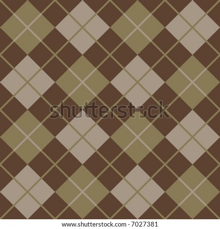 """A seamless 12"""" repeating vector argyle pattern in classic brown, gold and taupe. - stock vector"""
