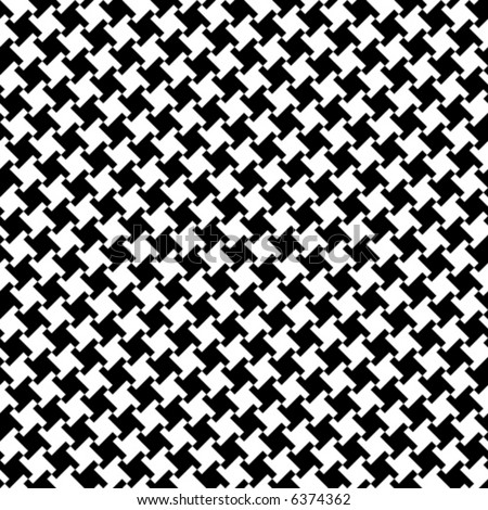 A seamless, repeating vector houndstooth pattern in black and white. - stock vector