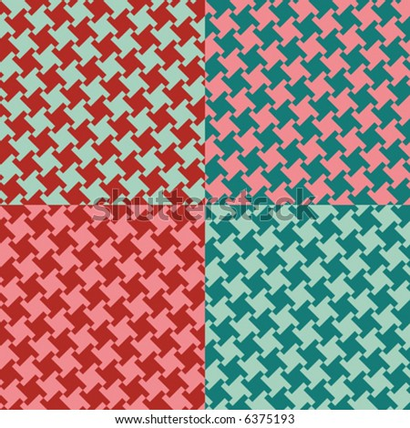 A seamless, repeating vector houndstooth pattern in vintage 1950s colors. - stock vector