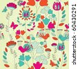 A Seamless Retro Style Pattern with Birds  and flowers - stock vector
