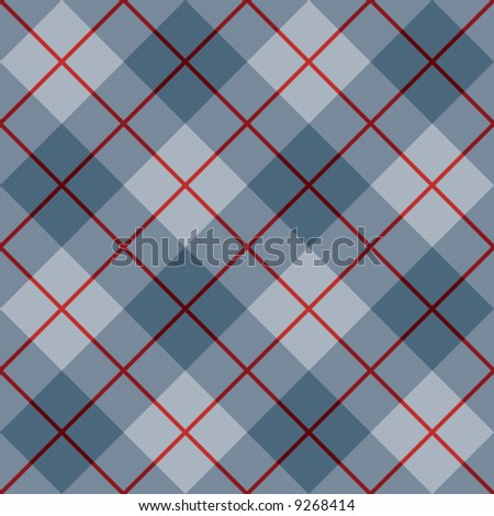 "A seamless 12"" square vector plaid pattern in blues with a red stripe."