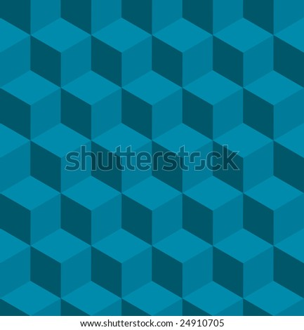 A seamless tilable blue isometric cube pattern. Designed to look at its best when tiled - stock vector