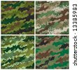 "A seamless vector camouflage pattern in four colorways with a grunge effect. Grunge is grouped for easy editing. Repeat size is 6"". - stock photo"