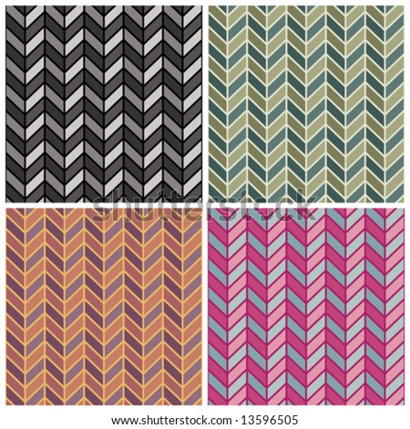 "A seamless vector herringbone pattern in four colorways. Repeat is 6"". - stock vector"