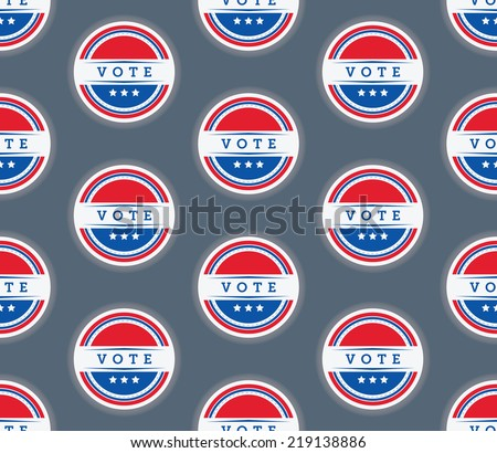 A seamless vector pattern of a vote sticker over a blue background